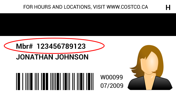 Costco Membership Card Example